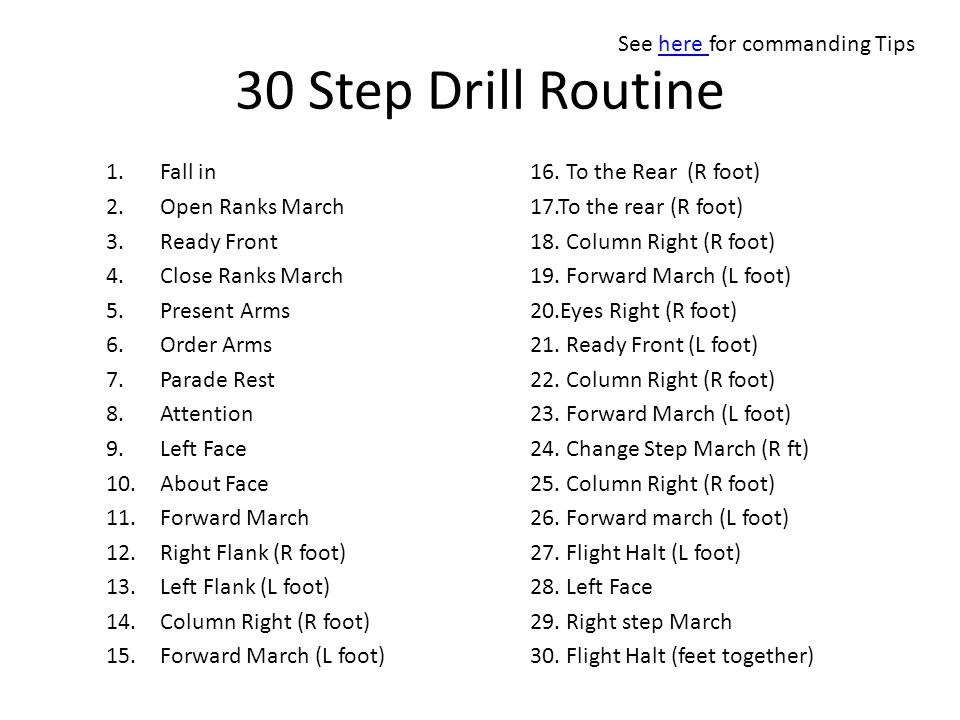 30 Step Drill Routine 1.Fall in 2.Open Ranks March 3.Ready Front 4.Close Ranks March 5.Present Arms 6.Order Arms 7.Parade Rest 8.Attention 9.Left Face