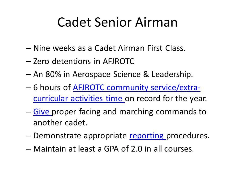 Cadet Ranks Cadet Second Lieutenant C/2Lt One little Stripe Cadet First Lieutenant C/1Lt Two little Cadet Captain C/Capt Three little Cadet Major C/Maj One Fat Stripe Cadet Lieutenant Colonel C/LtCol One Fat, one little Cadet Colonel C/Col One fat, two little Officer Ranks Enlisted Ranks Cadet Airman Basic C/AB Cadet Airman C/Amn Cadet Airman First Class C/A1C Cadet Senior Airman C/SrA Cadet Staff Sergeant C/SSgt Cadet Technical Sergeant C/TSgt Cadet Master Sergeant C/MSgt Cadet Senior Master Sergeant C/SMSgt Cadet Chief Master Sergeant C/CMSgt No insignia Continue to the next page…