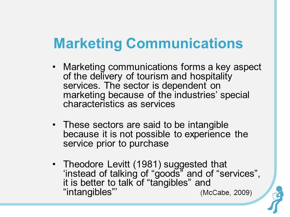 Marketing communications forms a key aspect of the delivery of tourism and hospitality services. The sector is dependent on marketing because of the i