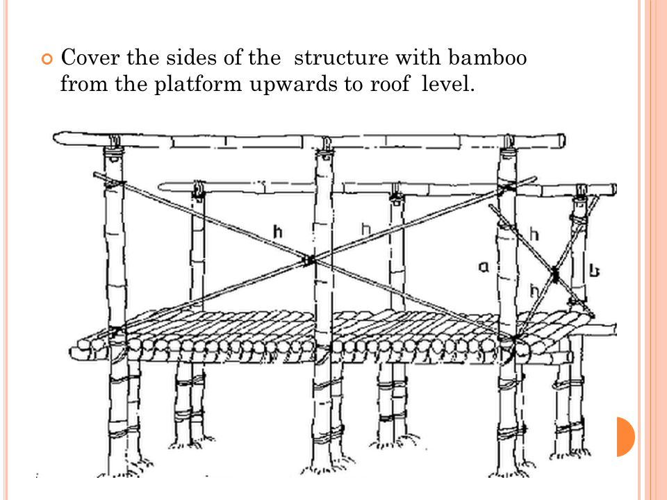 Cover the sides of the structure with bamboo from the platform upwards to roof level.