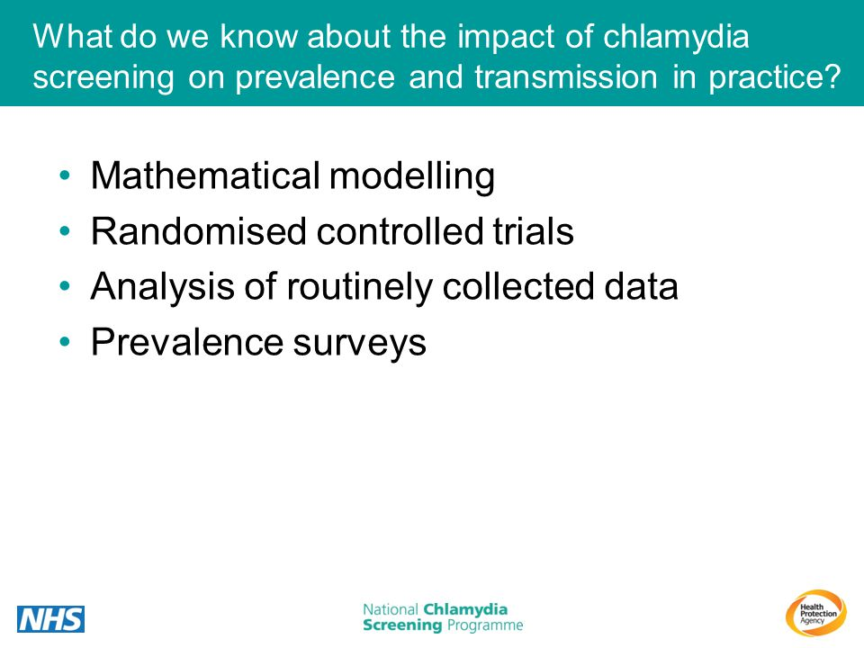 What do we know about the impact of chlamydia screening on prevalence and transmission in practice? Mathematical modelling Randomised controlled trial