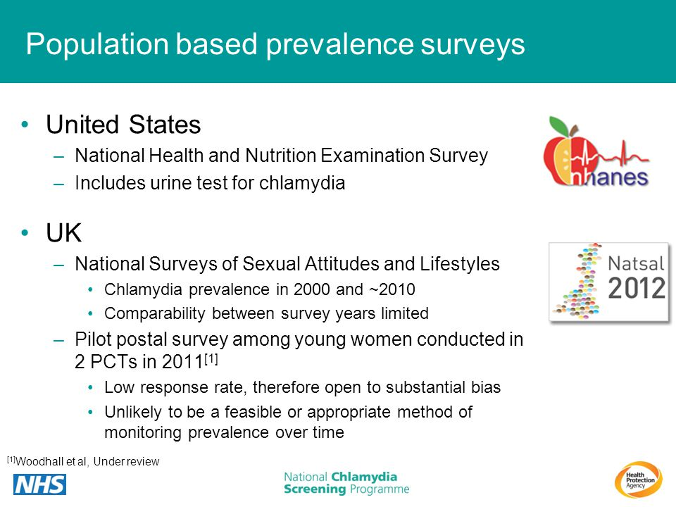 Population based prevalence surveys United States –National Health and Nutrition Examination Survey –Includes urine test for chlamydia UK –National Su