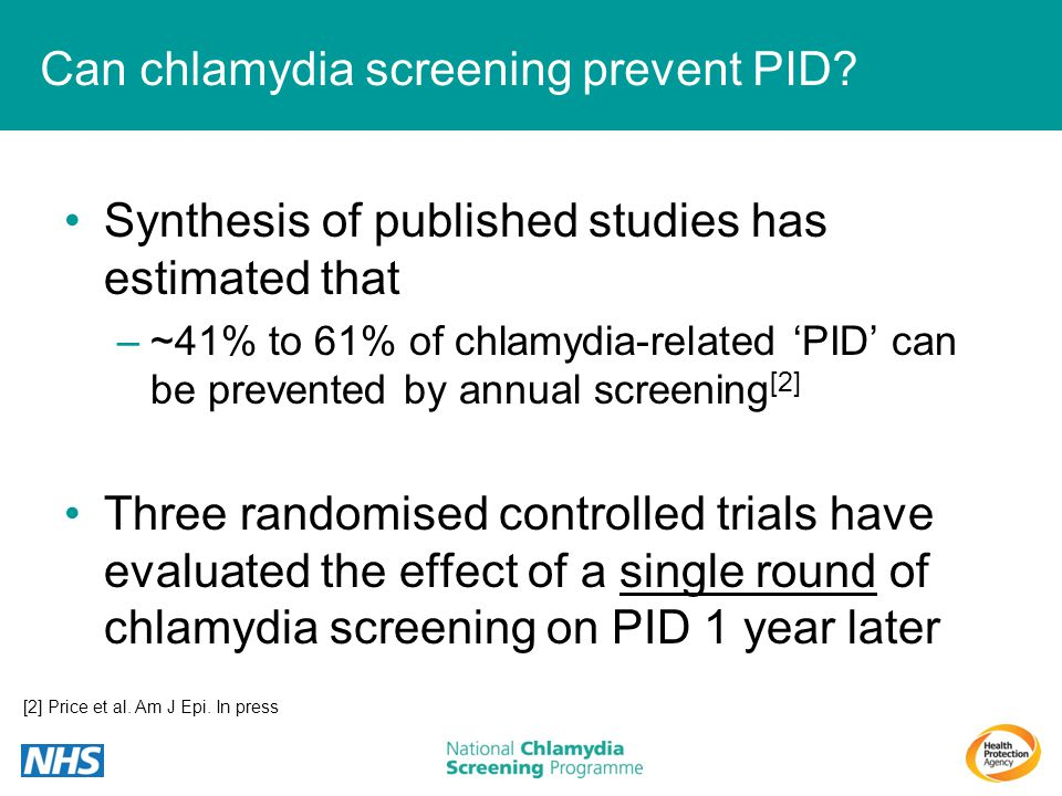 Can chlamydia screening prevent PID? Synthesis of published studies has estimated that –~41% to 61% of chlamydia-related PID can be prevented by annua