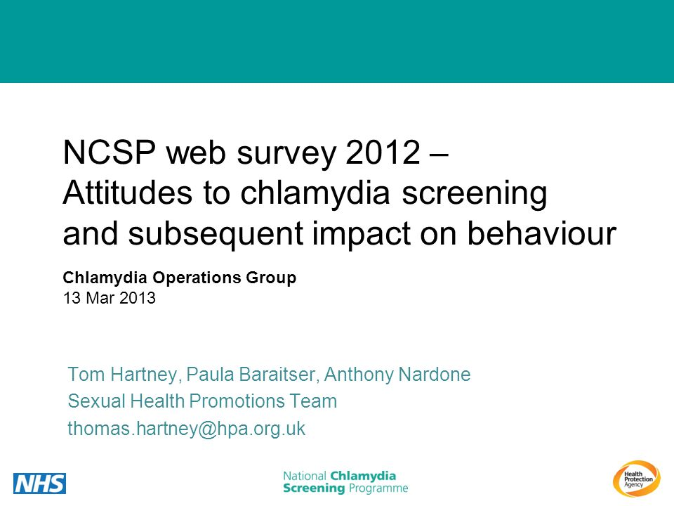 NCSP web survey 2012 – Attitudes to chlamydia screening and subsequent impact on behaviour Tom Hartney, Paula Baraitser, Anthony Nardone Sexual Health