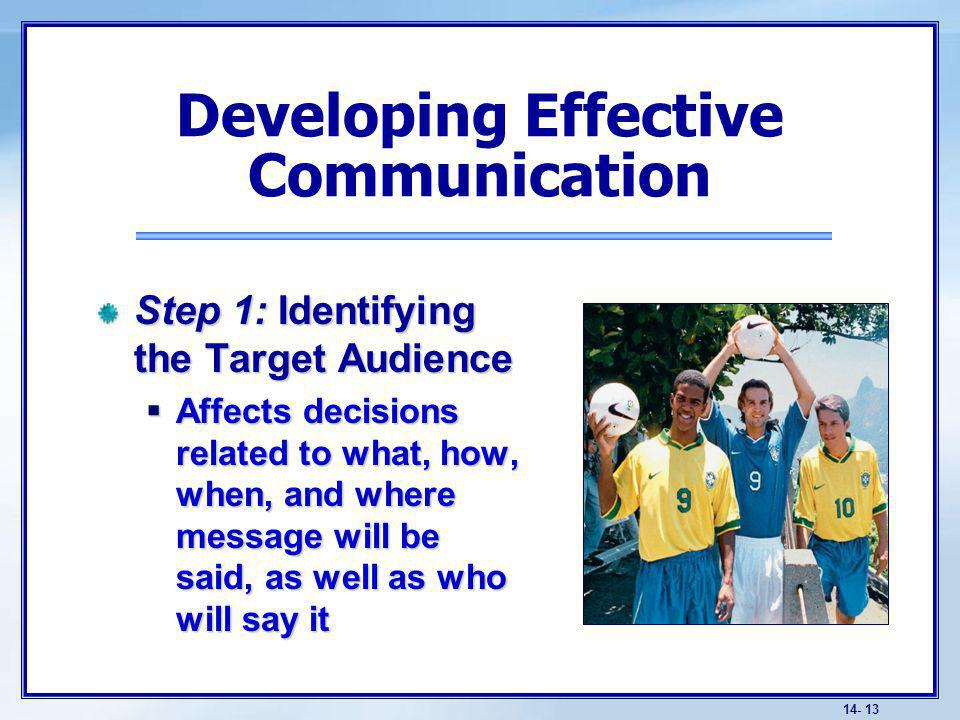 14- 13 Step 1: Identifying the Target Audience Affects decisions related to what, how, when, and where message will be said, as well as who will say it Affects decisions related to what, how, when, and where message will be said, as well as who will say it Developing Effective Communication