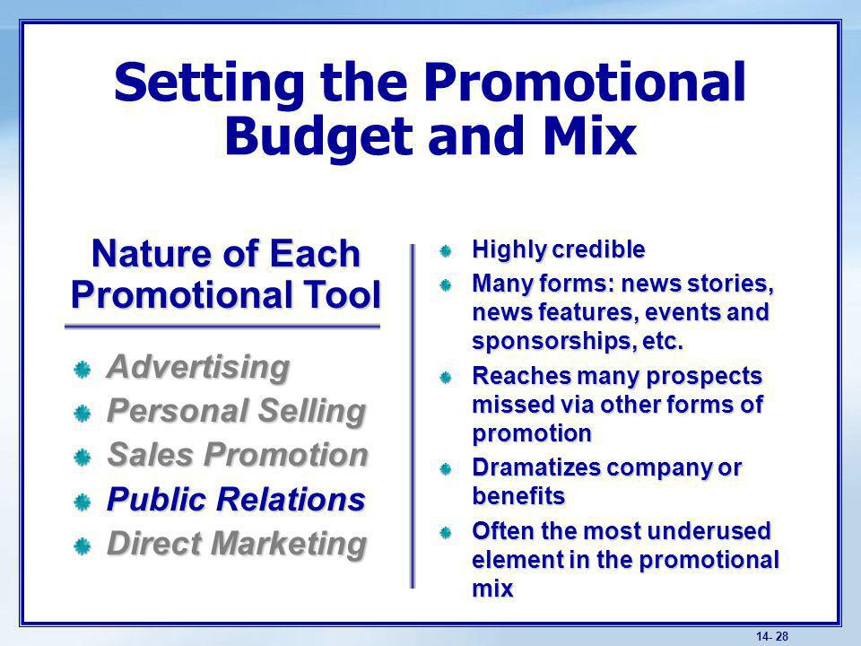 14- 28 Setting the Promotional Budget and Mix Highly credible Many forms: news stories, news features, events and sponsorships, etc.