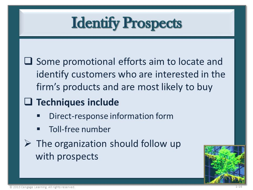 1-16 Some promotional efforts aim to locate and identify customers who are interested in the firms products and are most likely to buy Techniques incl