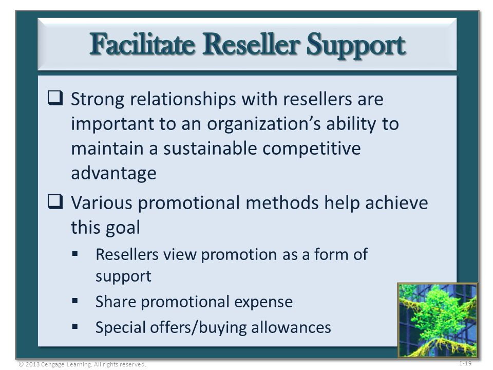 1-19 Strong relationships with resellers are important to an organizations ability to maintain a sustainable competitive advantage Various promotional