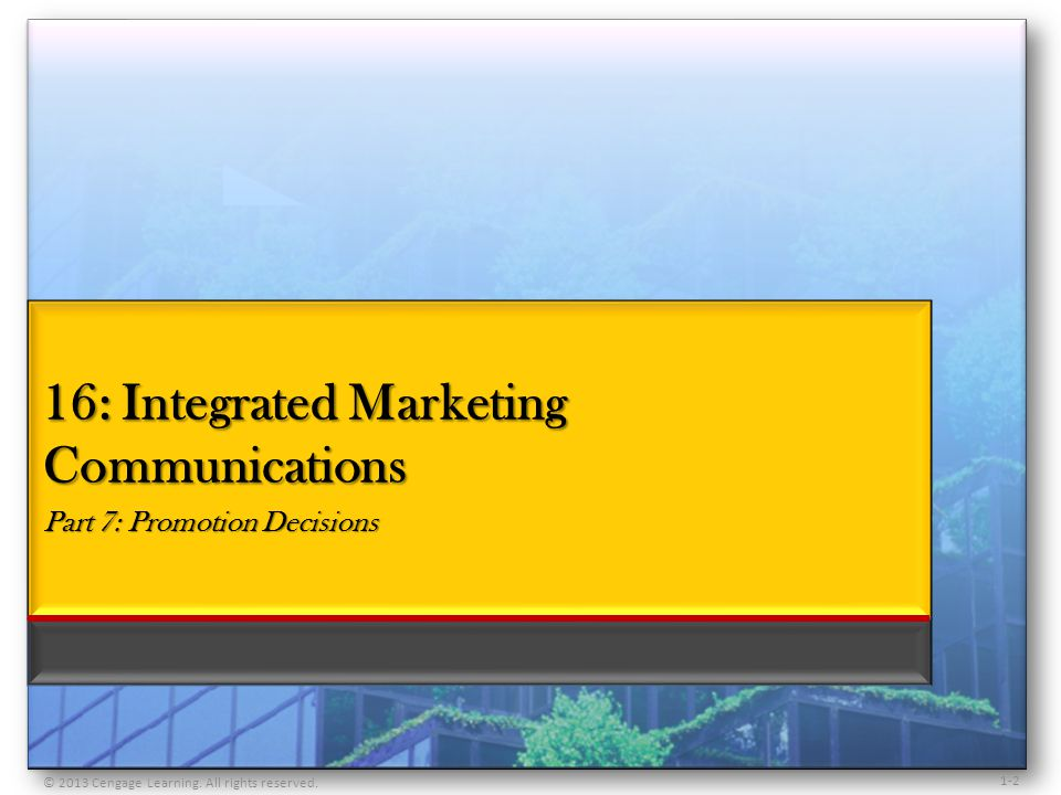 1-3 Describe the nature of integrated marketing communications Examine the process of communication Understand the role and objectives of promotion Explore the elements of the promotion mix Examine the selection of promotion mix elements Understand word-of-mouth communication and how it affects promotion Understand product placement promotions Examine criticism and defenses of promotion