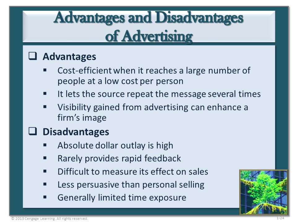 1-24 Advantages Cost-efficient when it reaches a large number of people at a low cost per person It lets the source repeat the message several times V