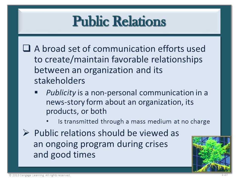 1-27 A broad set of communication efforts used to create/maintain favorable relationships between an organization and its stakeholders Publicity is a