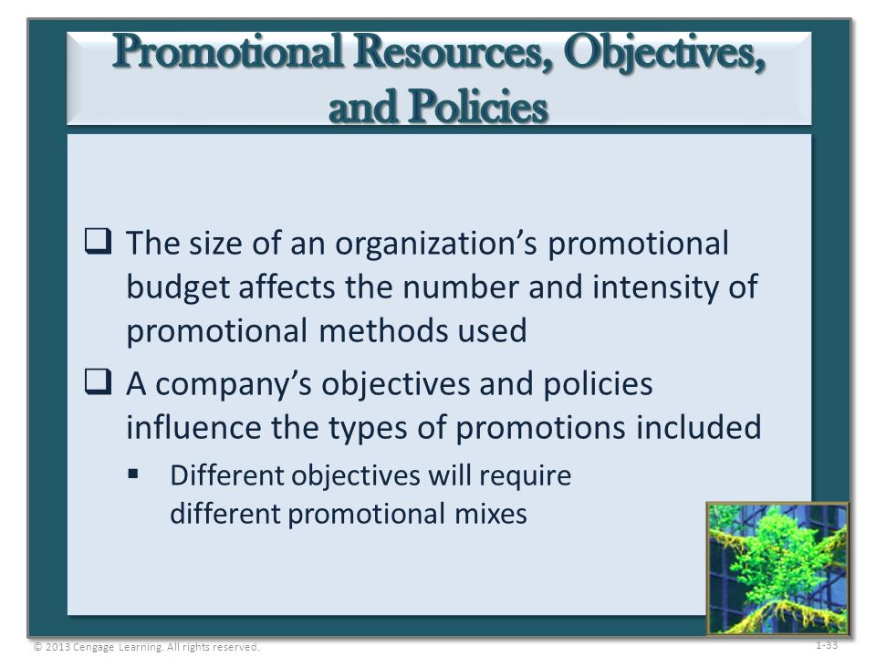 1-33 The size of an organizations promotional budget affects the number and intensity of promotional methods used A companys objectives and policies i