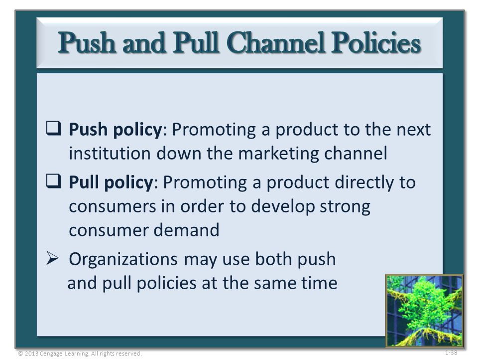 1-38 Push policy: Promoting a product to the next institution down the marketing channel Pull policy: Promoting a product directly to consumers in ord