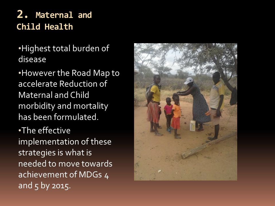 2. Maternal and Child Health Highest total burden of disease However the Road Map to accelerate Reduction of Maternal and Child morbidity and mortalit