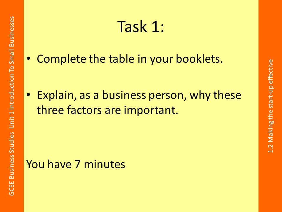 GCSE Business Studies Unit 1 Introduction To Small Businesses 1.2 Making the start-up effective Task 1: Complete the table in your booklets. Explain,