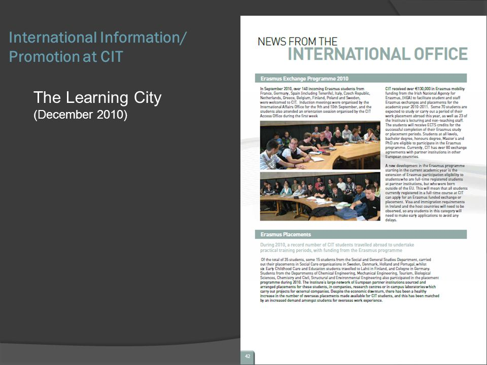 The Learning City (December 2010) International Information/ Promotion at CIT