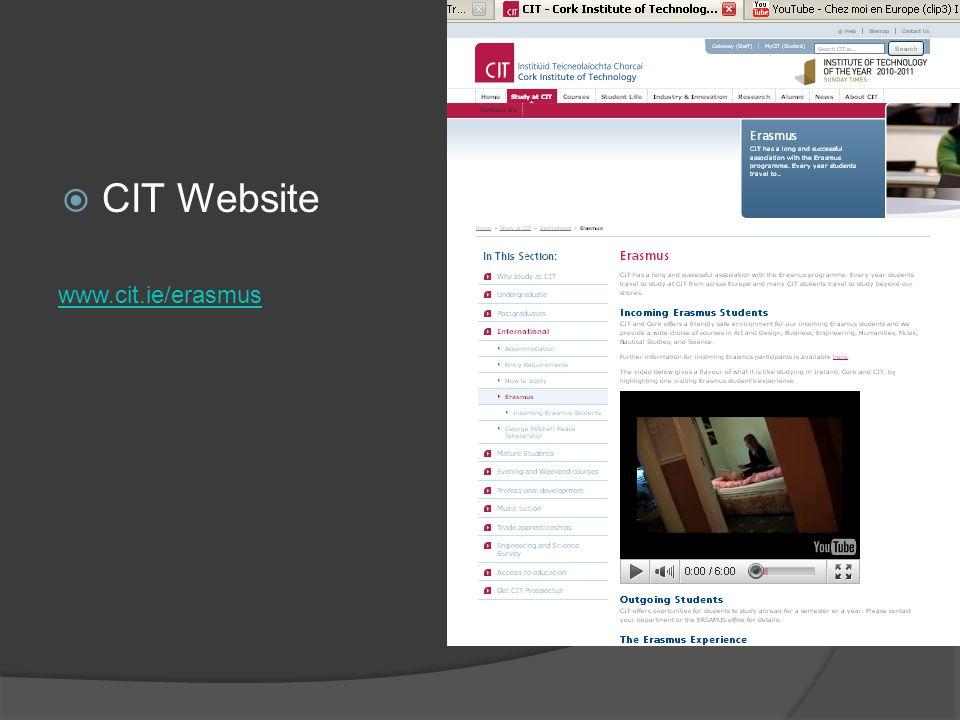 CIT Website www.cit.ie/erasmus