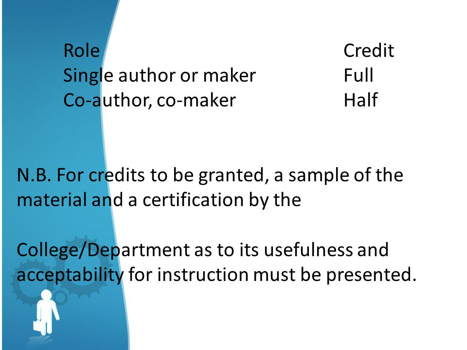 RoleCredit Single author or makerFull Co-author, co-makerHalf N.B.