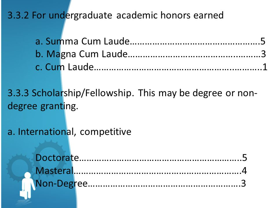 3.3.2 For undergraduate academic honors earned a.Summa Cum Laude…………………………………………….5 b.