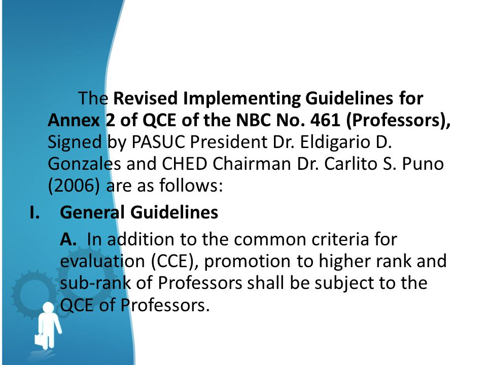 The Revised Implementing Guidelines for Annex 2 of QCE of the NBC No.