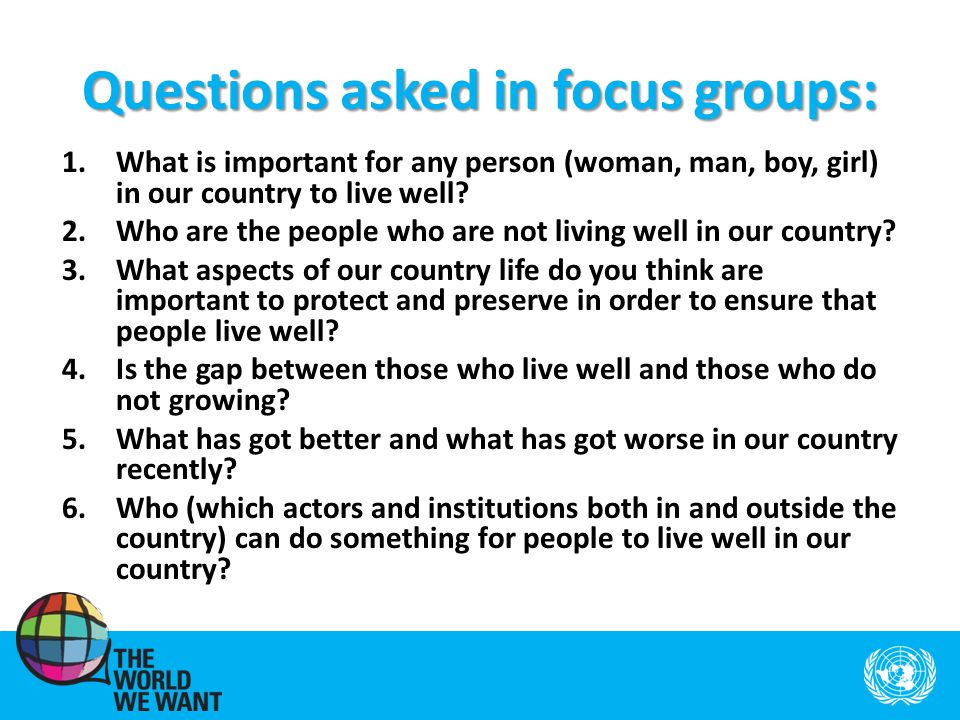 Questions asked in focus groups: 1.What is important for any person (woman, man, boy, girl) in our country to live well.