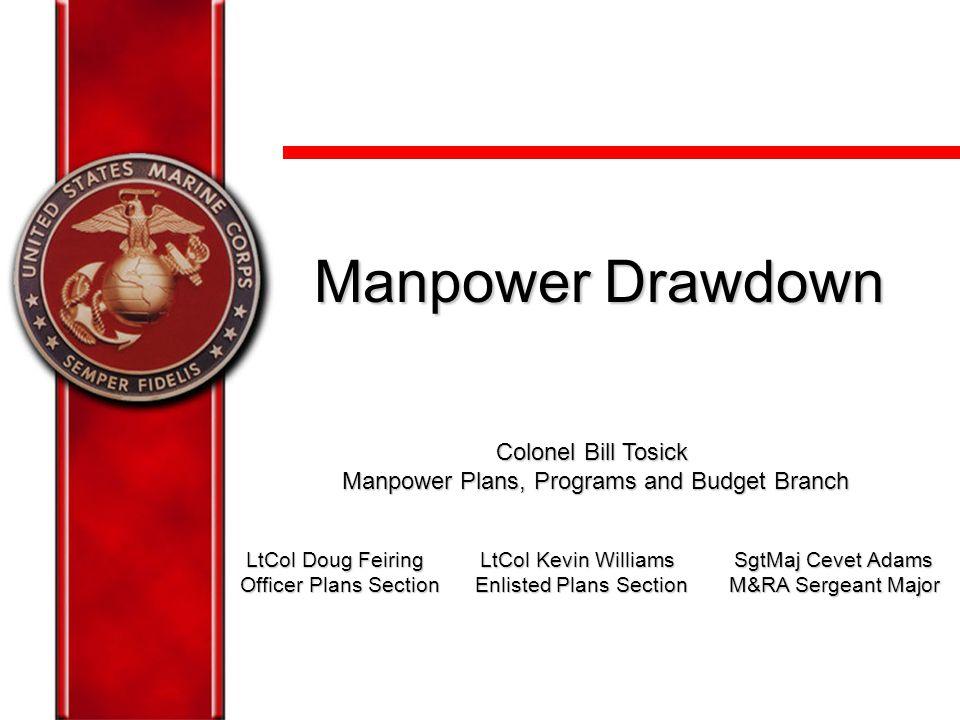 1 Manpower Drawdown Colonel Bill Tosick Manpower Plans, Programs and Budget Branch Manpower Plans, Programs and Budget Branch LtCol Doug Feiring LtCol
