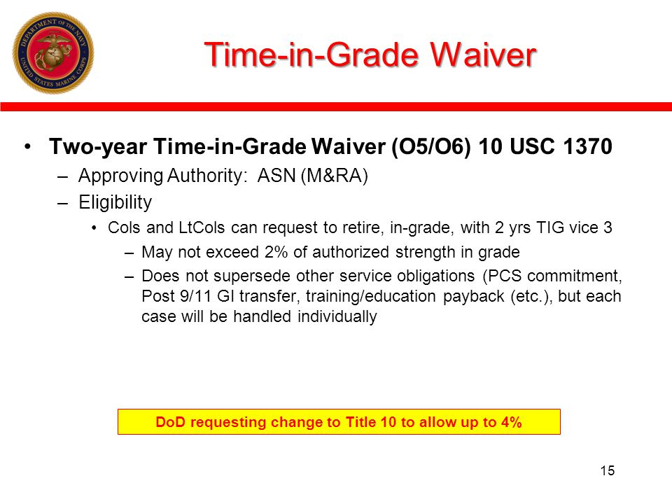 Time-in-Grade Waiver Two-year Time-in-Grade Waiver (O5/O6) 10 USC 1370 –Approving Authority: ASN (M&RA) –Eligibility Cols and LtCols can request to retire, in-grade, with 2 yrs TIG vice 3 –May not exceed 2% of authorized strength in grade –Does not supersede other service obligations (PCS commitment, Post 9/11 GI transfer, training/education payback (etc.), but each case will be handled individually 15 DoD requesting change to Title 10 to allow up to 4%
