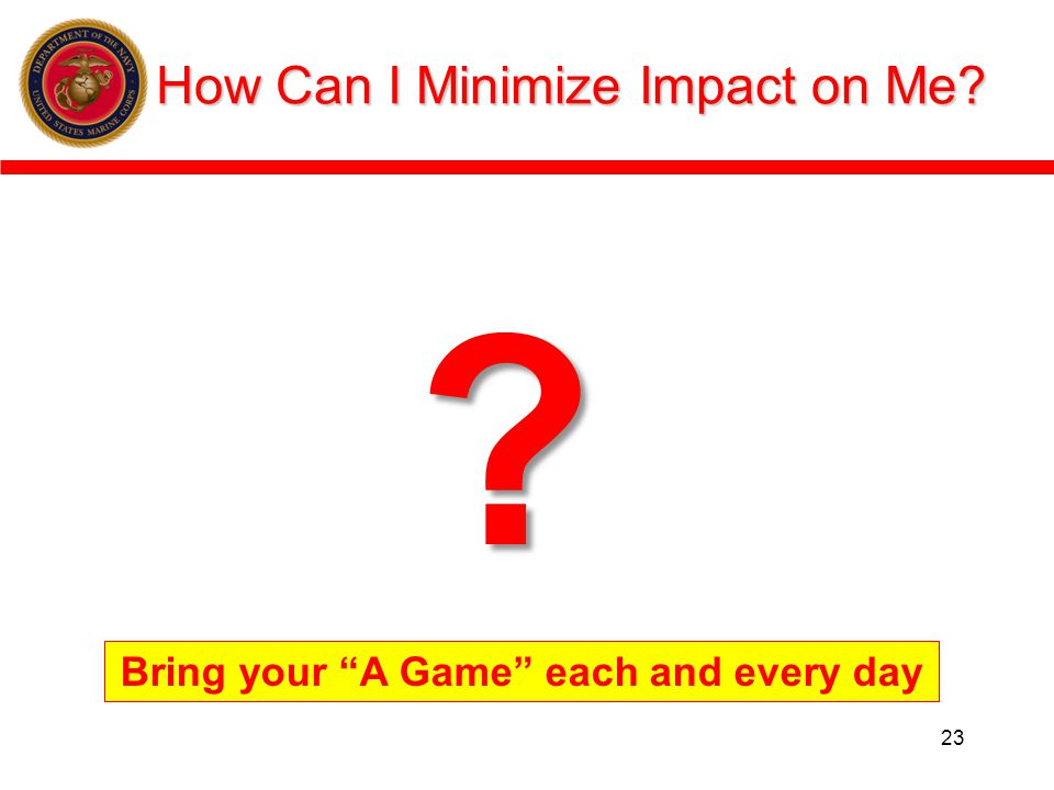 How Can I Minimize Impact on Me? 23 ? Bring your A Game each and every day
