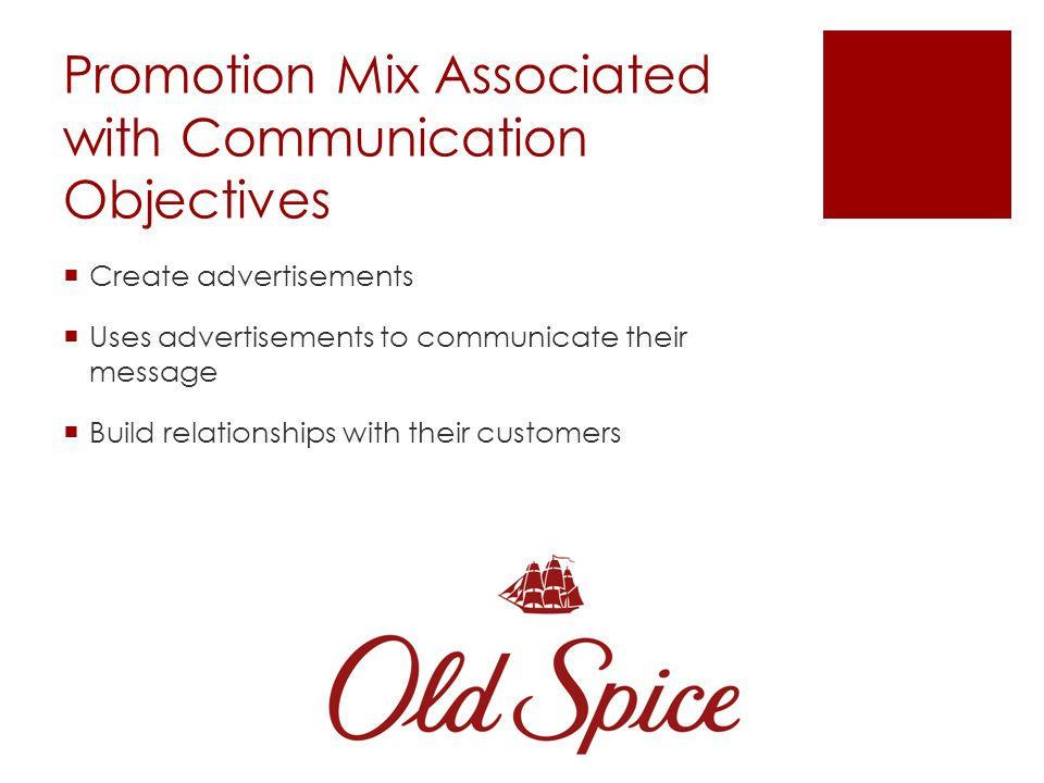 Old Spices Communication Objectives Men ages 15-34 concerned with personal hygiene and the need to feel manly they want to portray Manliness Male-styl