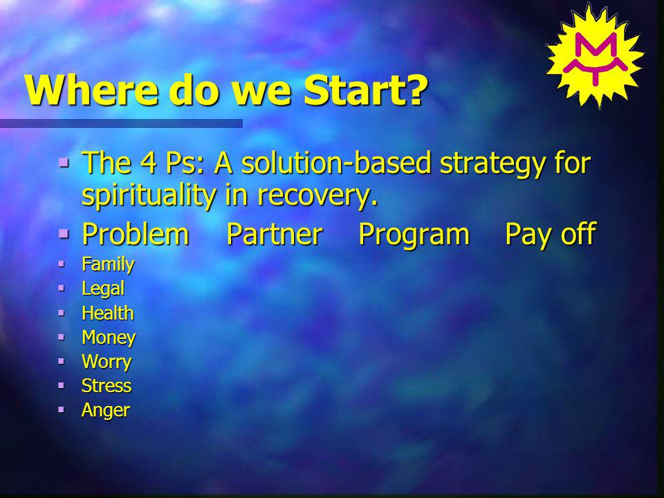 Where do we Start. The 4 Ps: A solution-based strategy for spirituality in recovery.