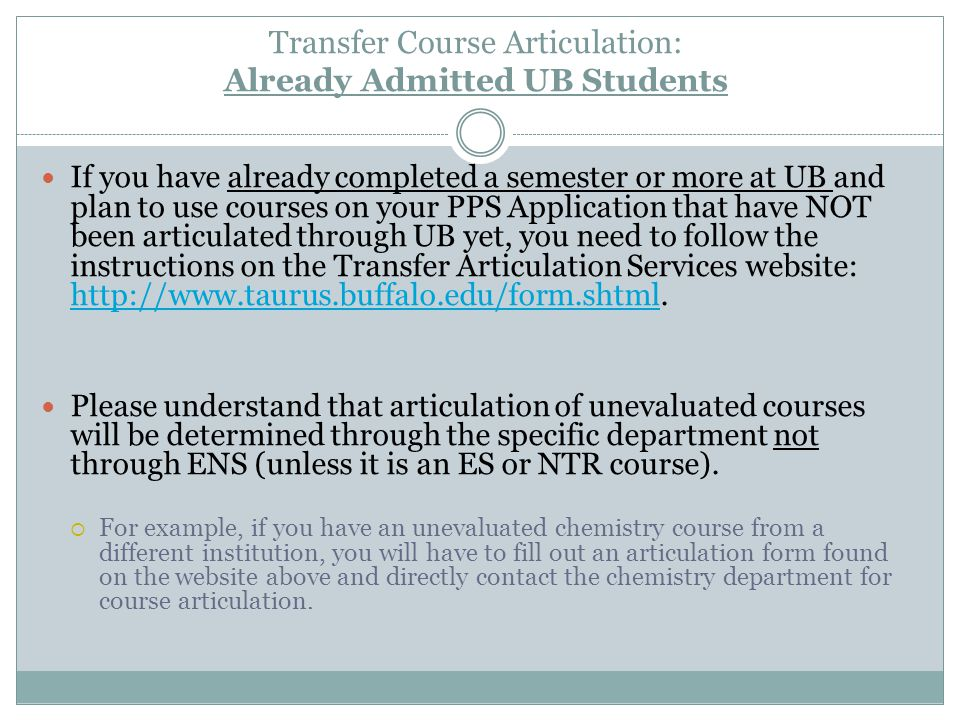 Transfer Course Articulation: Already Admitted UB Students If you have already completed a semester or more at UB and plan to use courses on your PPS