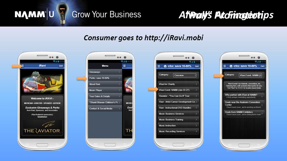 Consumer goes to http://iRavi.mobi Pull Promotion Always At Fingertips