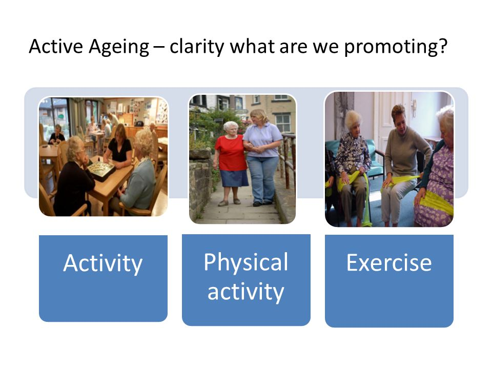 Active Ageing – clarity what are we promoting?