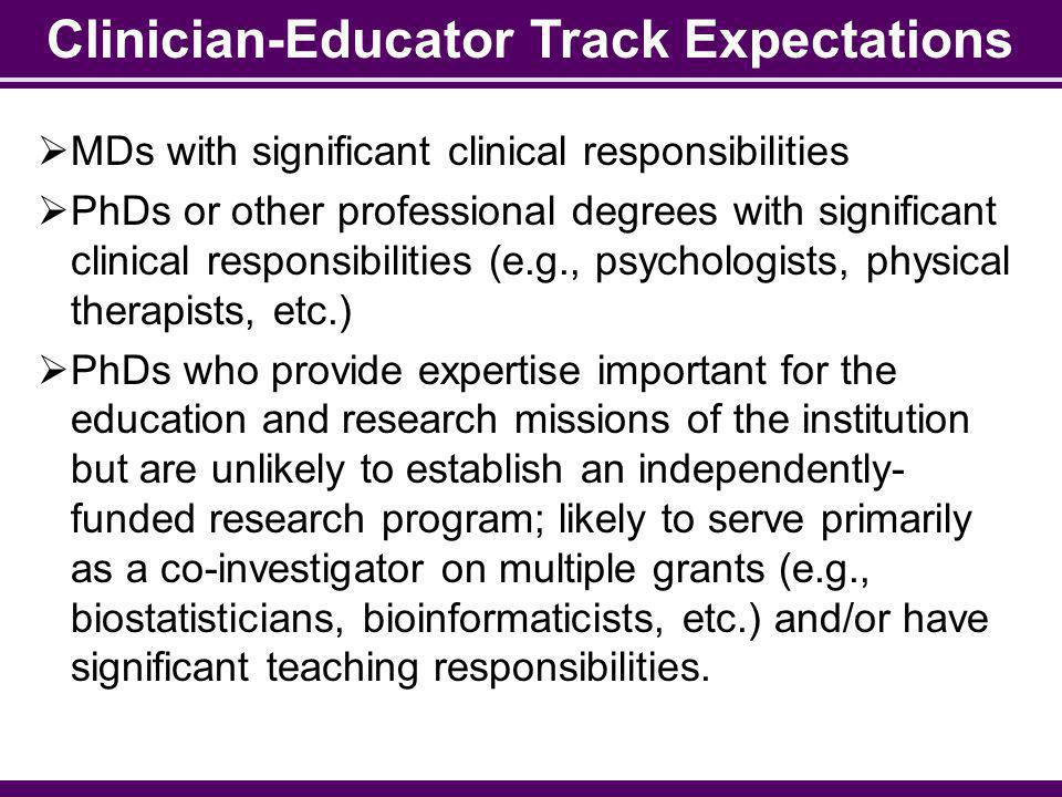 Clinician-Educator Track Expectations MDs with significant clinical responsibilities PhDs or other professional degrees with significant clinical resp