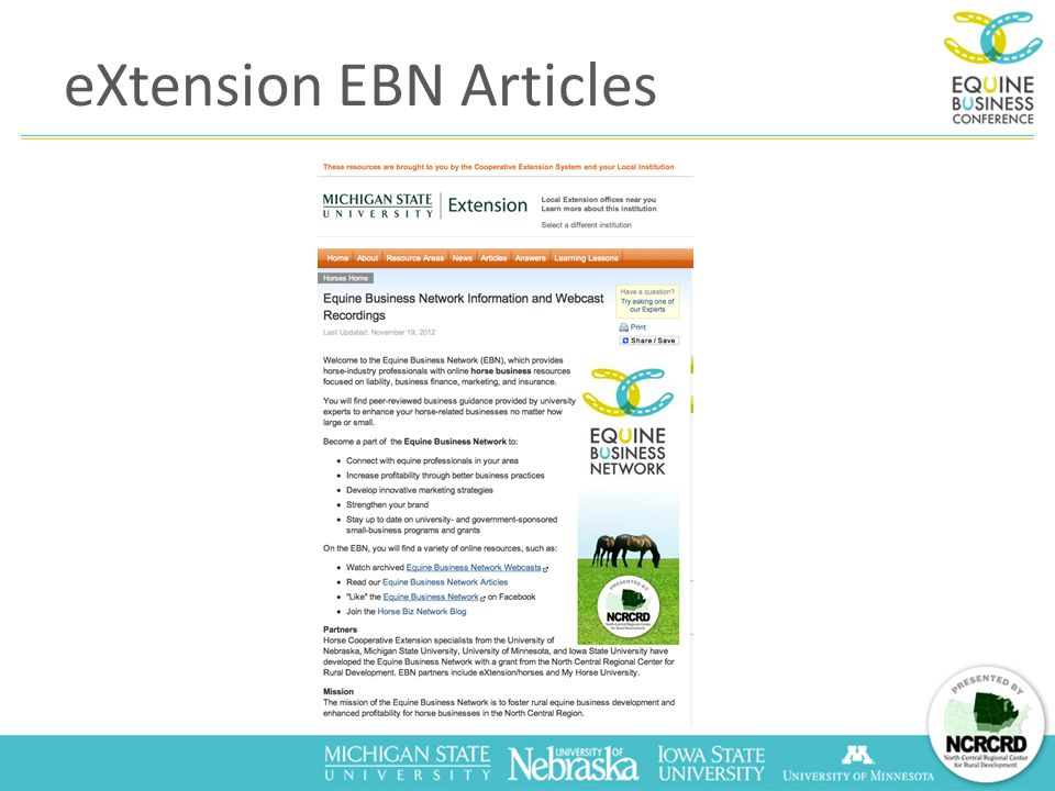 eXtension EBN Articles