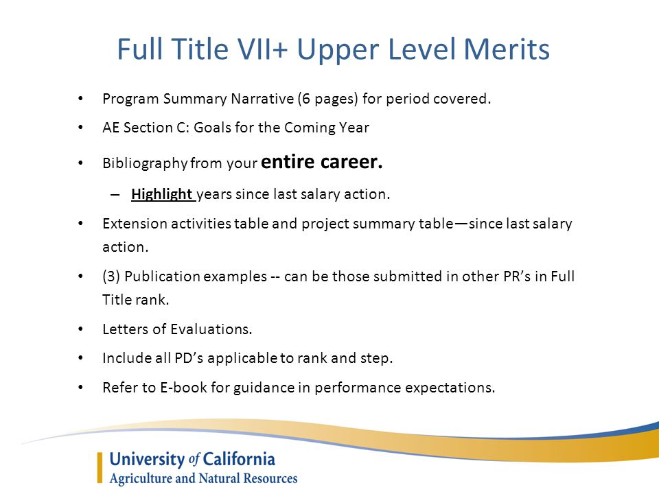 Full Title VII+ Upper Level Merits Program Summary Narrative (6 pages) for period covered.