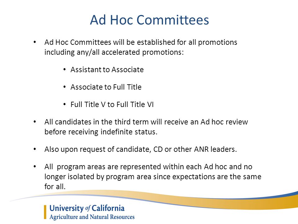 Ad Hoc Committees Ad Hoc Committees will be established for all promotions including any/all accelerated promotions: Assistant to Associate Associate