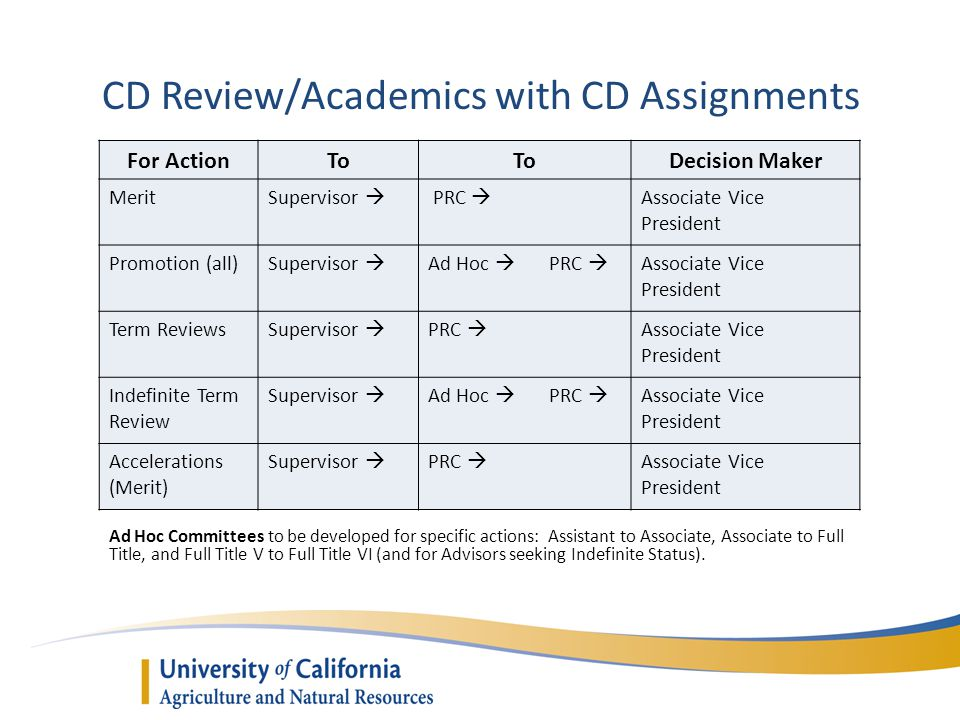 CD Review/Academics with CD Assignments Ad Hoc Committees to be developed for specific actions: Assistant to Associate, Associate to Full Title, and Full Title V to Full Title VI (and for Advisors seeking Indefinite Status).