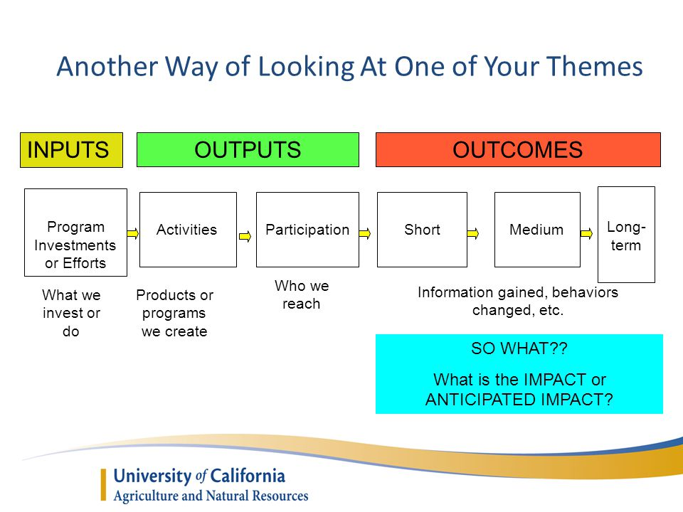 Another Way of Looking At One of Your Themes INPUTSOUTPUTSOUTCOMES Program Investments or Efforts ActivitiesParticipationShortMedium What we invest or do Products or programs we create Who we reach Information gained, behaviors changed, etc.