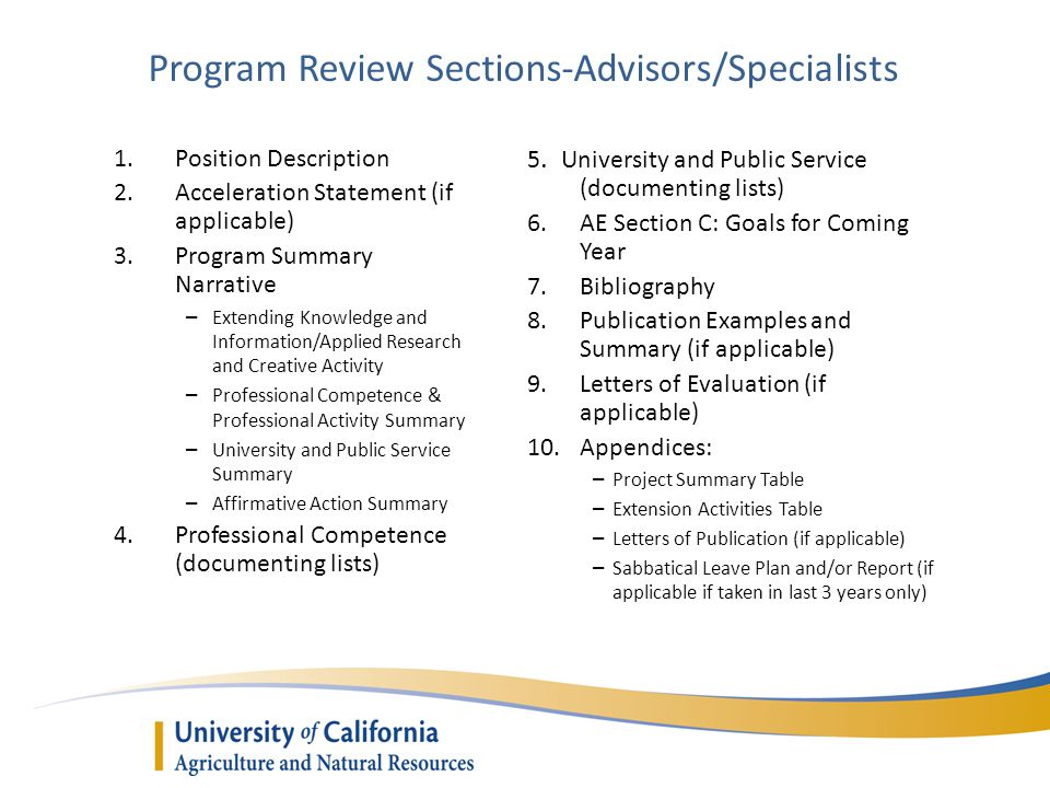 Program Review Sections-Advisors/Specialists 1.Position Description 2.Acceleration Statement (if applicable) 3.Program Summary Narrative – Extending Knowledge and Information/Applied Research and Creative Activity – Professional Competence & Professional Activity Summary – University and Public Service Summary – Affirmative Action Summary 4.Professional Competence (documenting lists) 5.