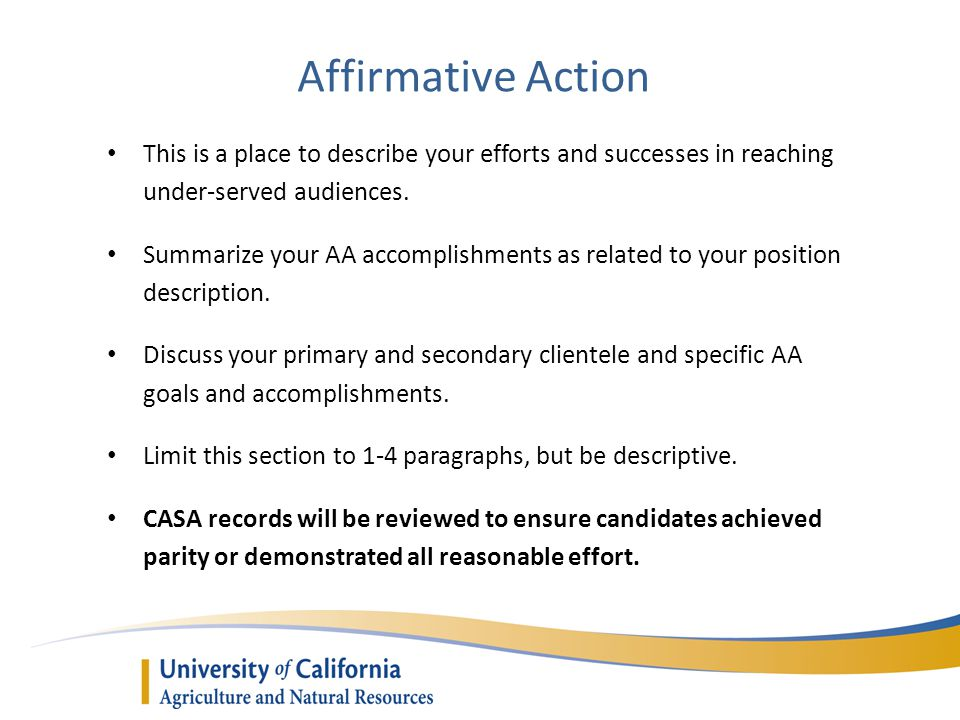 Affirmative Action This is a place to describe your efforts and successes in reaching under-served audiences. Summarize your AA accomplishments as rel