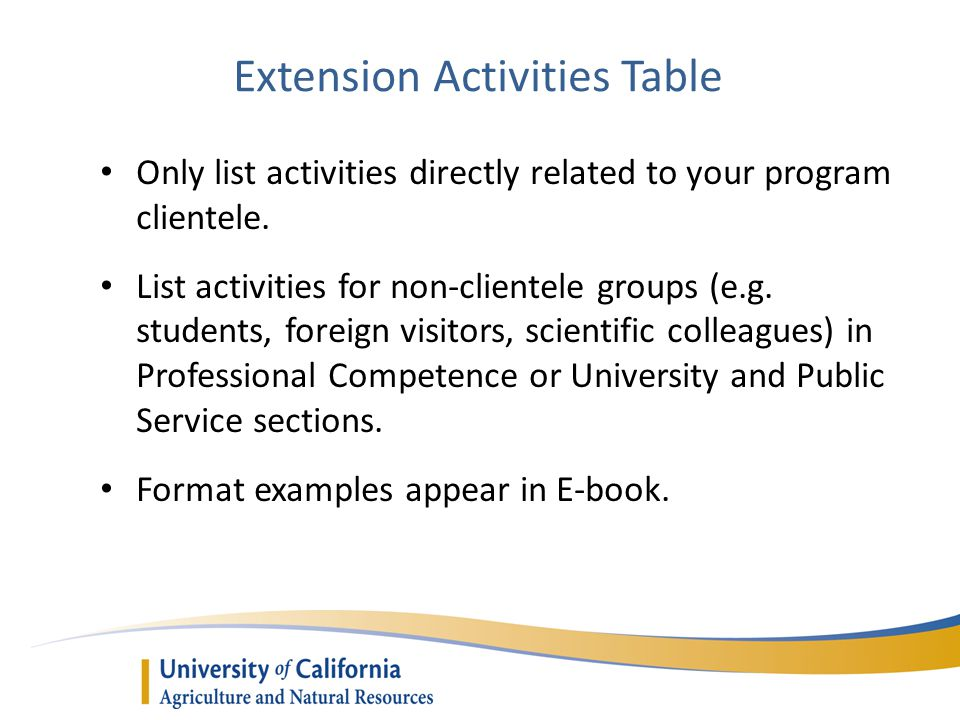 Extension Activities Table Only list activities directly related to your program clientele. List activities for non-clientele groups (e.g. students, f