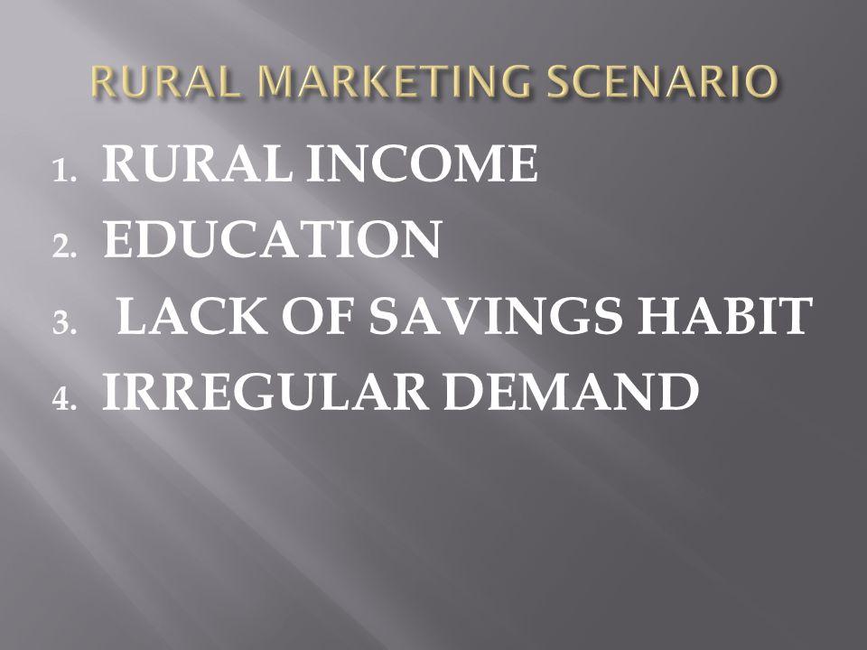 1. RURAL INCOME 2. EDUCATION 3. LACK OF SAVINGS HABIT 4. IRREGULAR DEMAND