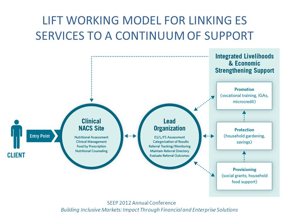 LIFT WORKING MODEL FOR LINKING ES SERVICES TO A CONTINUUM OF SUPPORT SEEP 2012 Annual Conference Building Inclusive Markets: Impact Through Financial