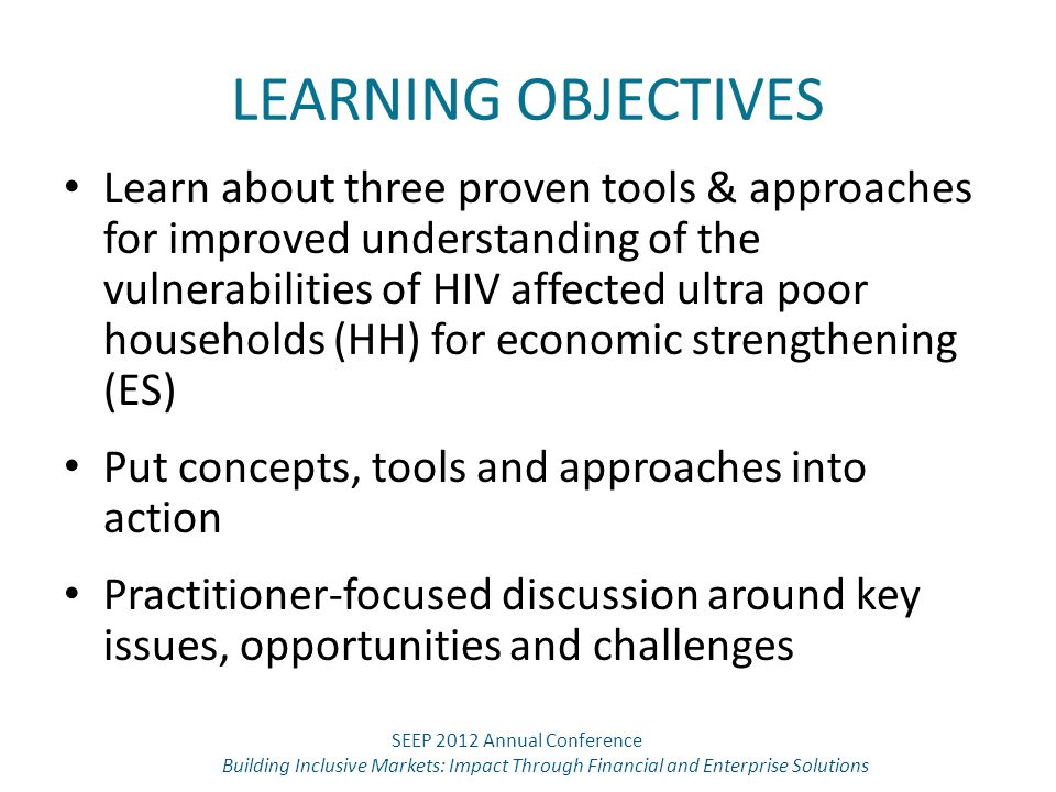 LEARNING OBJECTIVES Learn about three proven tools & approaches for improved understanding of the vulnerabilities of HIV affected ultra poor household