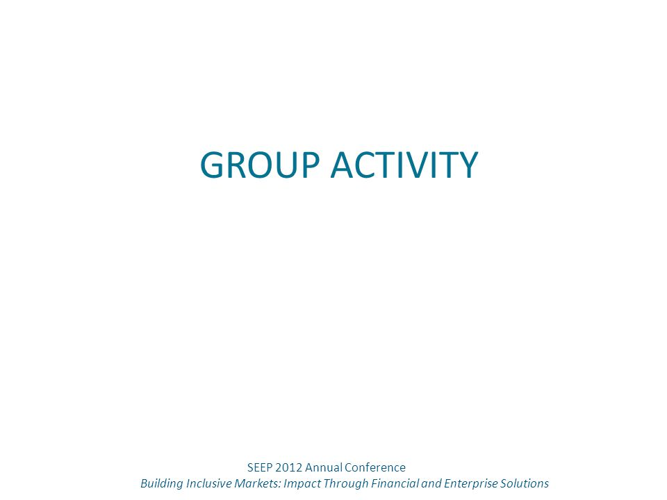 GROUP ACTIVITY SEEP 2012 Annual Conference Building Inclusive Markets: Impact Through Financial and Enterprise Solutions