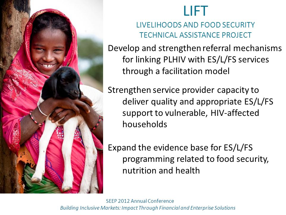 LIFT LIVELIHOODS AND FOOD SECURITY TECHNICAL ASSISTANCE PROJECT Develop and strengthen referral mechanisms for linking PLHIV with ES/L/FS services thr