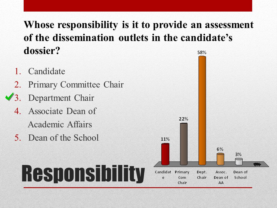 Responsibility Whose responsibility is it to provide an assessment of the dissemination outlets in the candidates dossier? 1.Candidate 2.Primary Commi