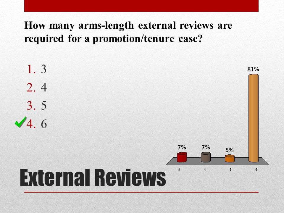 External Reviews How many arms-length external reviews are required for a promotion/tenure case? 1.3 2.4 3.5 4.6