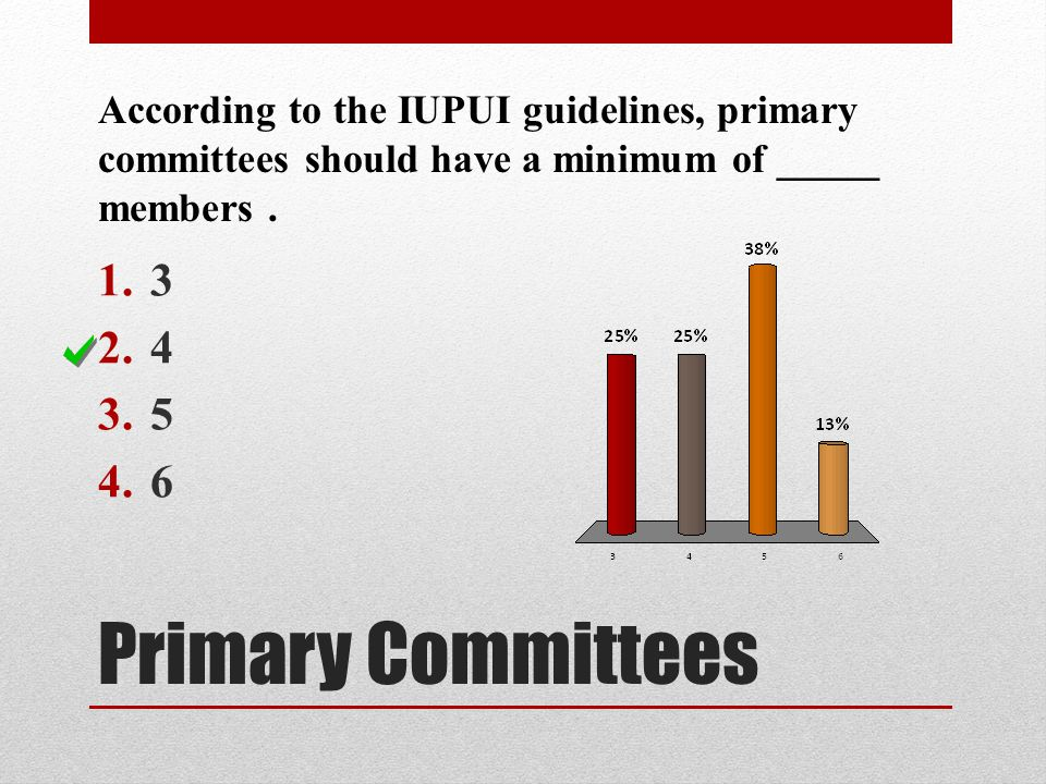 Primary Committees According to the IUPUI guidelines, primary committees should have a minimum of _____ members. 1.3 2.4 3.5 4.6
